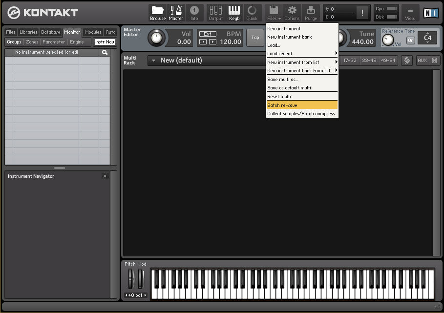 Pro Tip #1: Run a Kontakt Batch Resave on your libraries to
