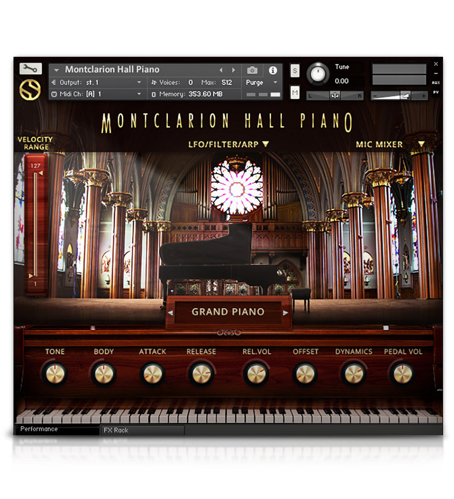 Montclarion Hall Grand Piano - Pianos and Organs - virtual instrument sample library for Kontakt by Soundiron