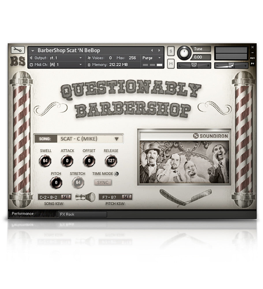 Questionably Barbershop - Solo Voice - virtual instrument sample library by Soundiron