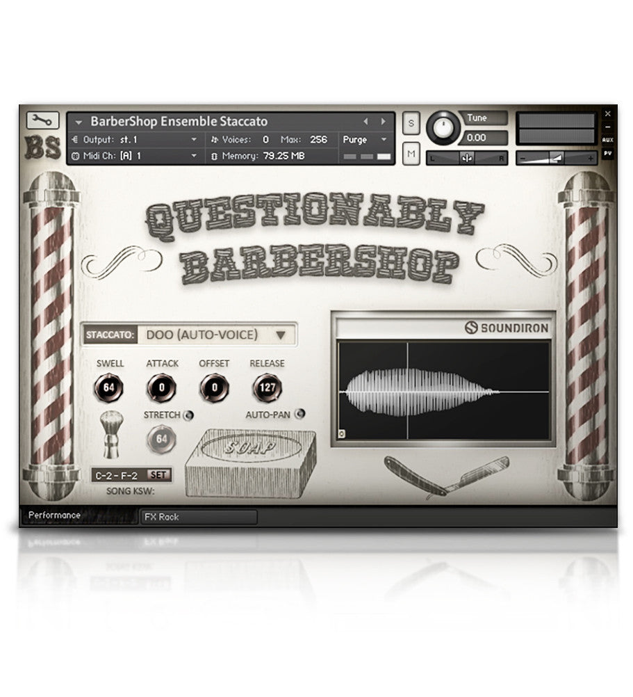 Questionably Barbershop - Solo Voice - virtual instrument sample library for Kontakt by Soundiron
