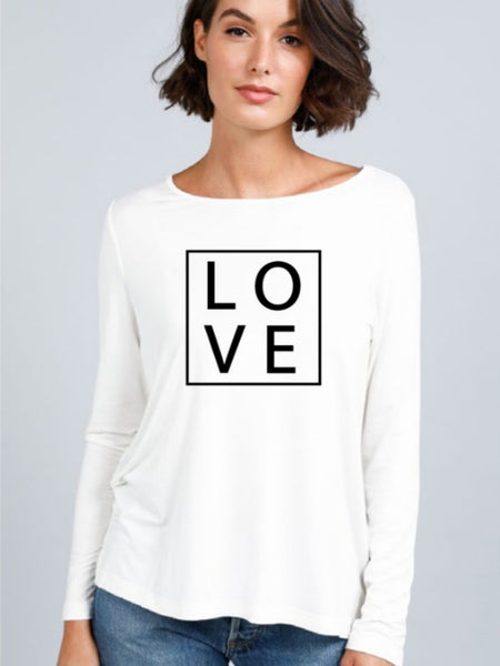 Love - Long Sleeve White Tee