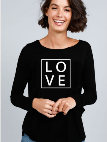 Love - Long Sleeve Black Tee