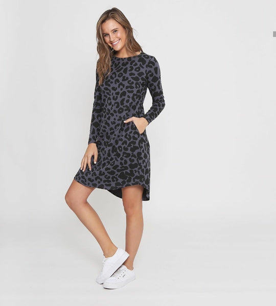 Emerson Dress - Gun Metal Leopard