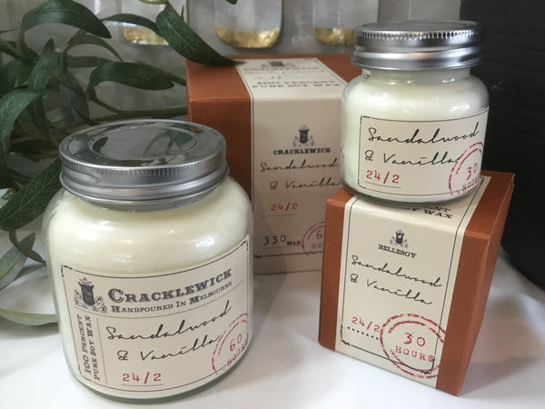 Vintage Collection Cracklewick Soy Candle  - Sandalwood & Vanilla