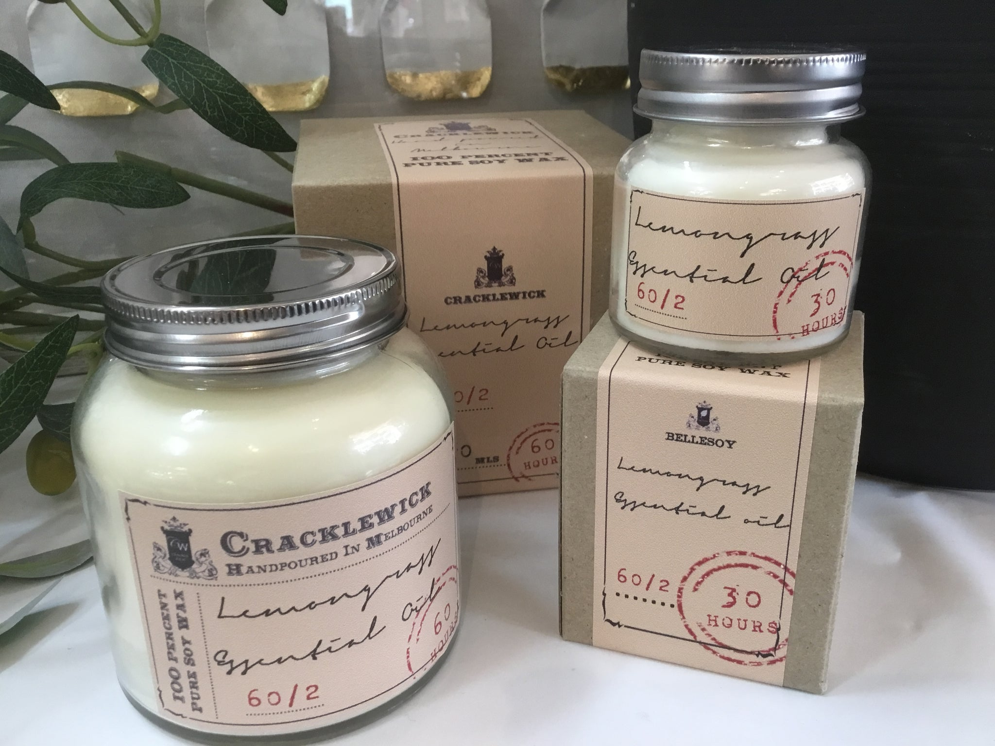 Vintage Collection Cracklewick Soy Candle - Lemongrass Essential Oil
