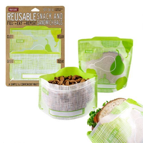 Reusable Snack & Sandwich Bag - Pear (set of 4)