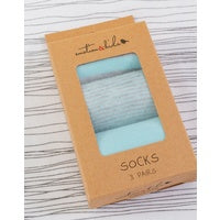 Socks - Set of 3 Blue & Grey