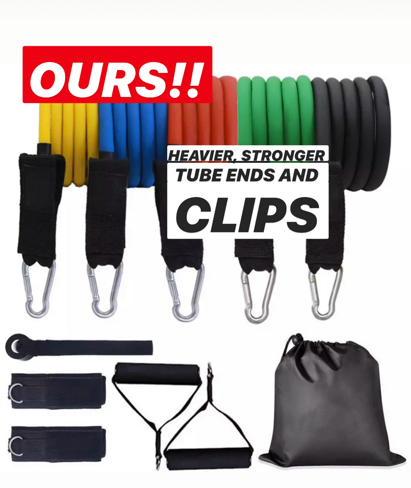 11 Pc Resistance Exercise Band Set With Handles And Door Anchor - stayfitinside.ca Canada