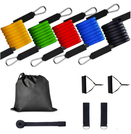 11 Pc Resistance Band / Tube Set With Handles, Ankle Straps And Door Anchor - stayfitinside.ca
