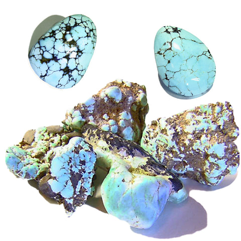 Natural Turquoise rough and Lone Mountain Turquoise cabs