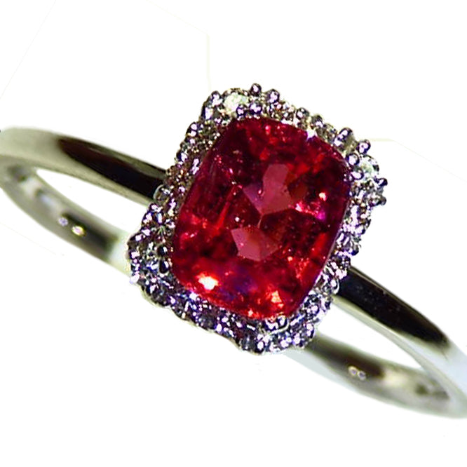 Natural red spinel diamond halo ring