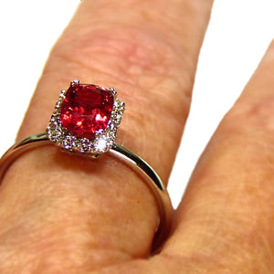 All natural bright red Spinel engagement ring