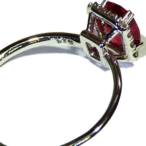Red spinel with diamonds white gold ring