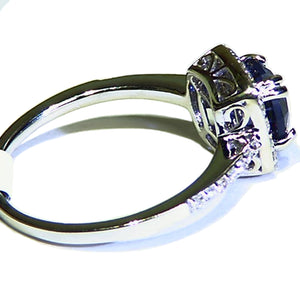 Rich blue natural Spinel and diamond 14k white gold ring
