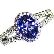 Load image into Gallery viewer, All natural purple Tanzanite and Diamond 14k white gold ring