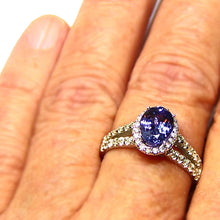 Load image into Gallery viewer, Natural Tanzanite and diamond 14k gold ring