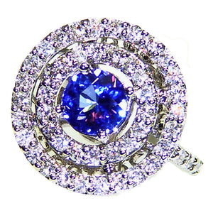 Big ring set with Tanzanite and diamonds in 14k white gold