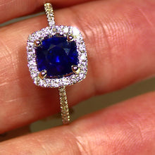 Load image into Gallery viewer, Royal blue Ceylon Sapphire and diamond white gold estate ring