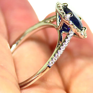 Unheated royal blue Sapphire and diamond estate ring