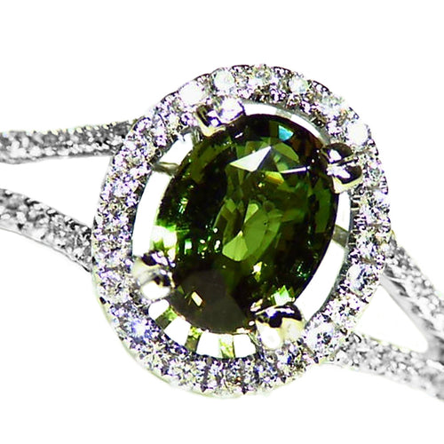 All Natural color change Alexandrite diamond halo 14k white gold ring