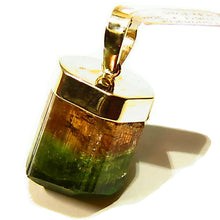 Load image into Gallery viewer, Tri color Tourmaline crystal gold pendant