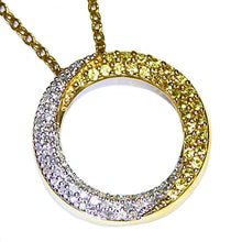 Load image into Gallery viewer, Diamond & Sapphire estate necklace pendant with chain attached