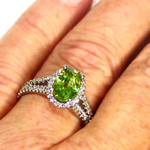 Load image into Gallery viewer, Green Sphene and diamond ring in 14k white gold