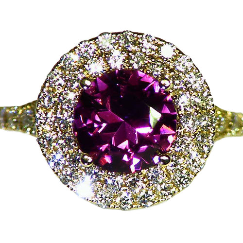 One of a kind natural spinel & diamond 14k gold ring