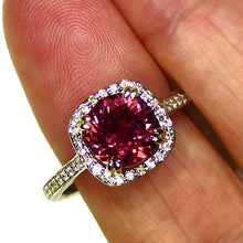 Load image into Gallery viewer, Mahenge Garnet and diamond ring in 14k white gold