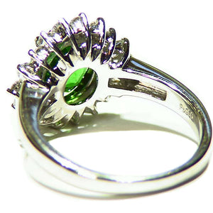 Natural, apple green tsavorite garnet platinum ring