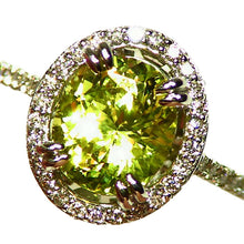 Load image into Gallery viewer, Stunning, all natural, Chrysoberyl and Diamond ring