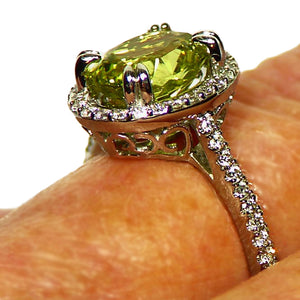 Lemon yellow Chrysoberyl and diamond 14k white gold ring