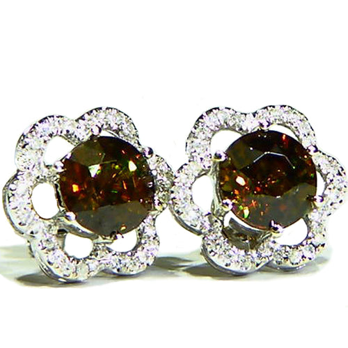 Sparkling honey sphene and diamond 14k white gold earrings