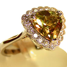 Load image into Gallery viewer, Color change Zultanite ring with diamond accents