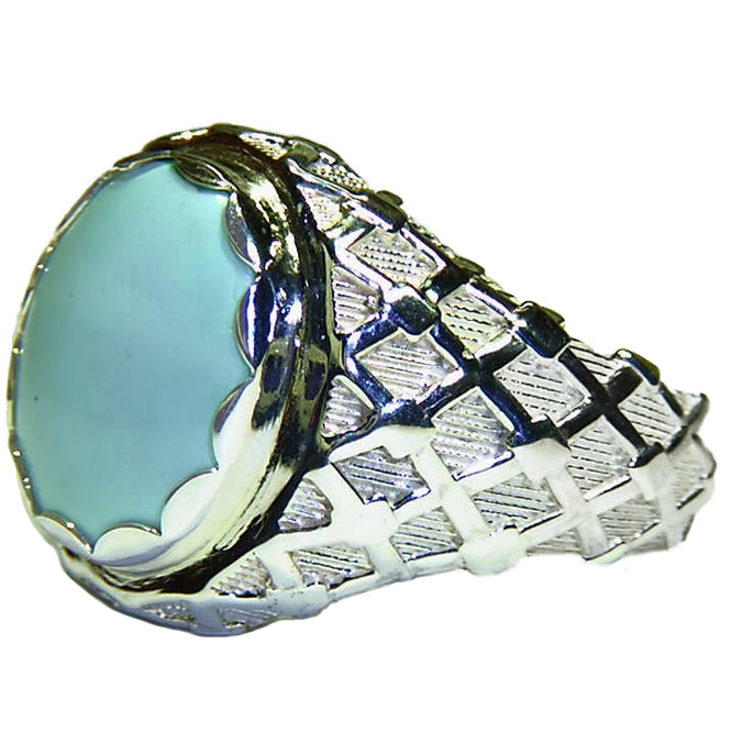 Highly collectible natural Sleeping Beauty Turquoise sterling silver men's ring