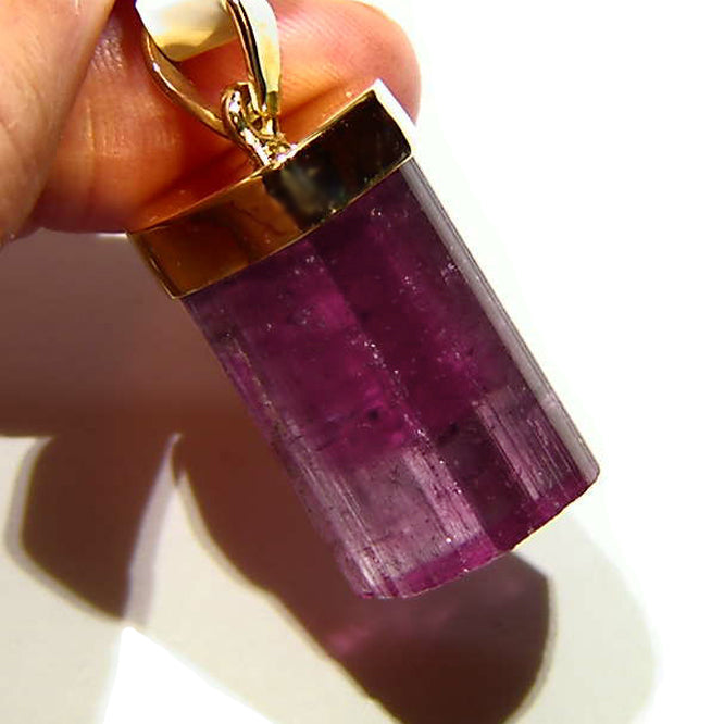 Beautiful pink tourmaline crystal 14k gold pendant