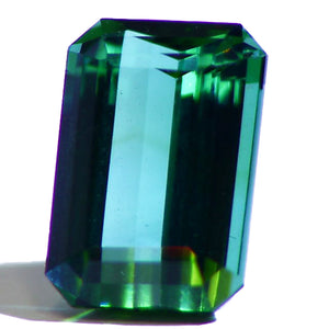 Namibian blue green Indicolite Tourmaline, Emerald cut