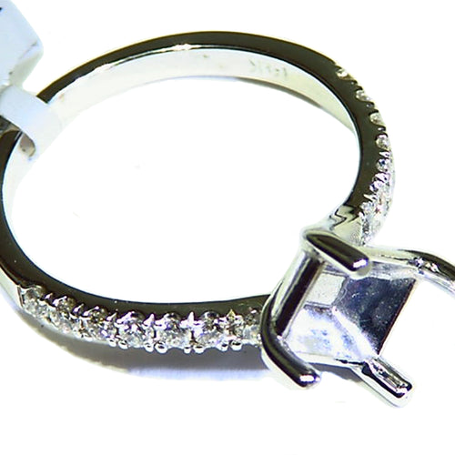 White gold diamond semi mount ring solitaire