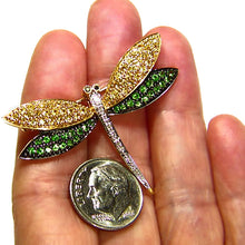 Load image into Gallery viewer, Sapphire, tsavorite, diamond solid gold estate brooch pin