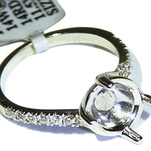 Load image into Gallery viewer, White gold diamond semi mount ring made for a cabochon