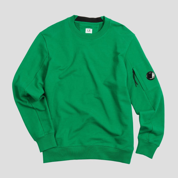 C.P. Company - Tröja - CMSS039A Crew Neck Sweatshirt (683 Ivy Green) - Thernlunds