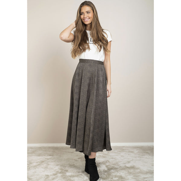 Dry Lake - Kjol - Feather Skirt (Black Mini Dot Print) - Thernlunds