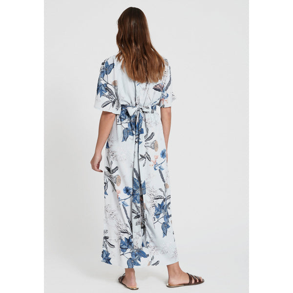 Dry Lake - Klänning - THALIA ANKLE DRESS (850 BLUE DANDELION PRINT) - Thernlunds