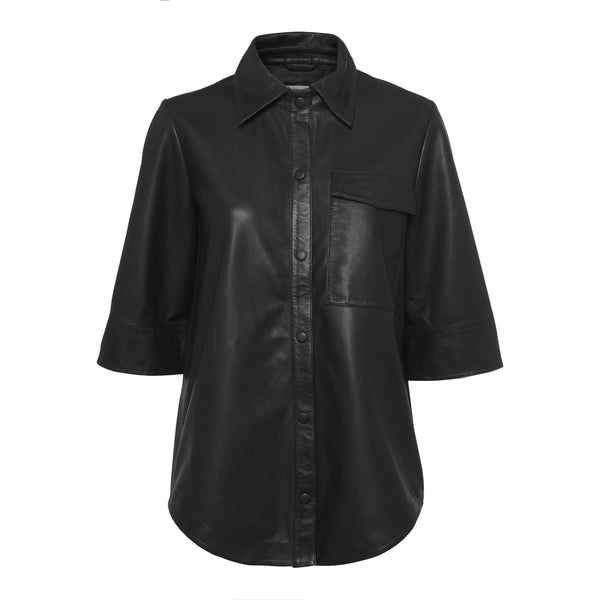 Norr - Skjorta - 11861687 Niko leather shirt (Black) - Thernlunds