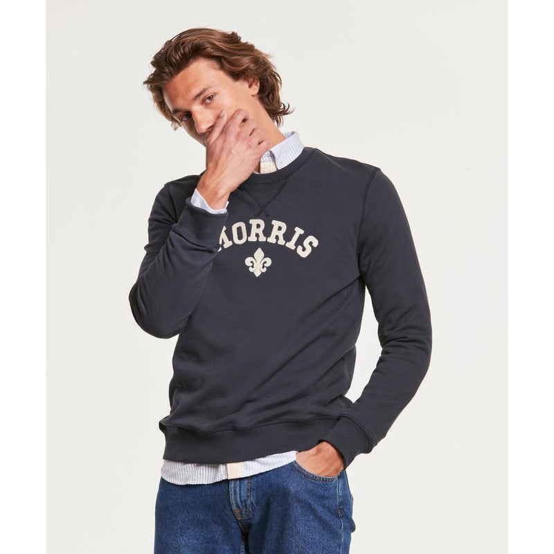 Morris - Tröja - Keaton Sweatshirt (59 Old Blue) - Thernlunds