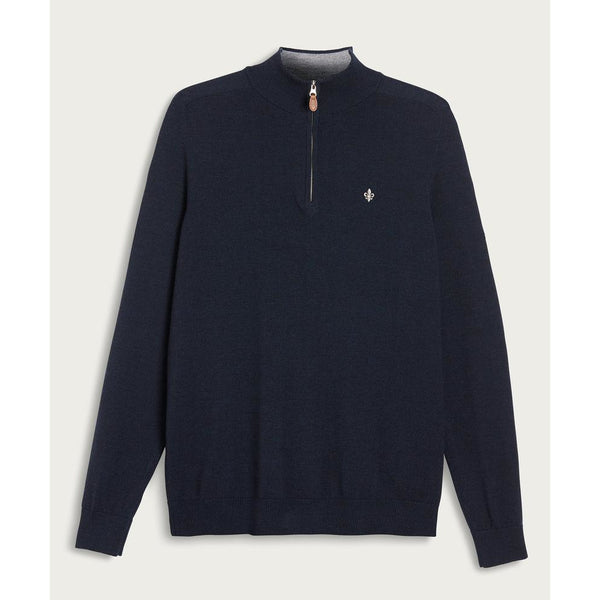 Morris - Tröja - Merino John Zip (60 Navy) - Thernlunds
