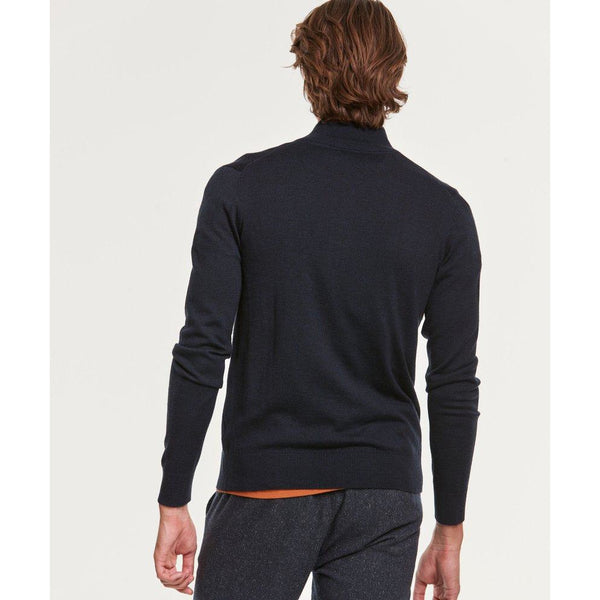Morris - Tröja - Merino Zip Cardigan (60 Navy) - Thernlunds
