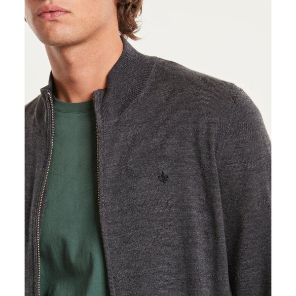 Morris - Tröja - Merino Zip Cardigan (95 Grey) - Thernlunds