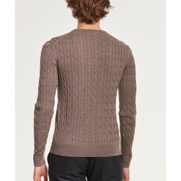 Morris - Tröja - Merino Cable (88 Brown) - Thernlunds