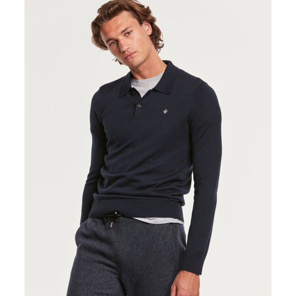 Morris - Skjorta - Merino Polo Shirt (60 Navy) - Thernlunds